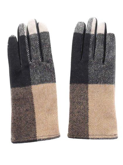 Mânuși în carouri Pieces Pecheck cu piele naturală