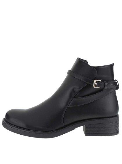 Čierne členkové topánky so zipsom a prackou Pieces Daniella