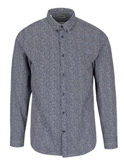 Tmavomodrá vzorovaná slim fit košeľa Selected Homme One Wave