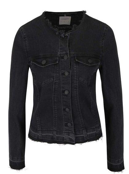 Tmavě šedá džínová bunda bez límečku Vero Moda Tanja