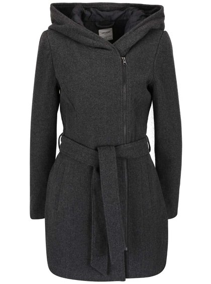 Tmavě šedý kabát s kapucí VERO MODA Joyce Daisy
