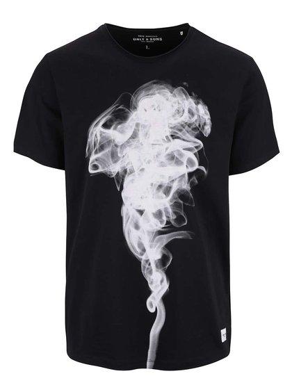 Černé triko s potiskem ONLY & SONS Nim
