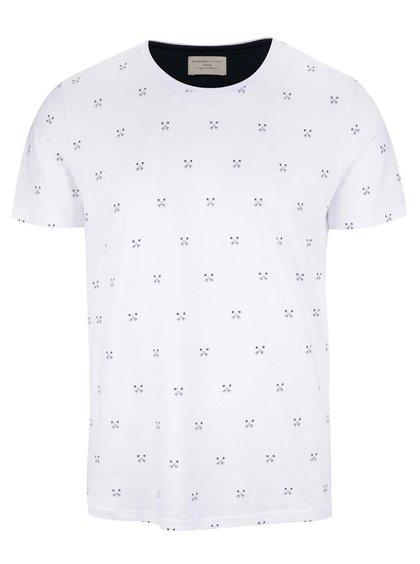 Bílé triko se vzorem Selected Homme New Luke