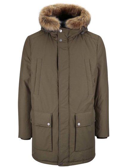 Khaki pánská delší bunda s umělým kožíškem Geox