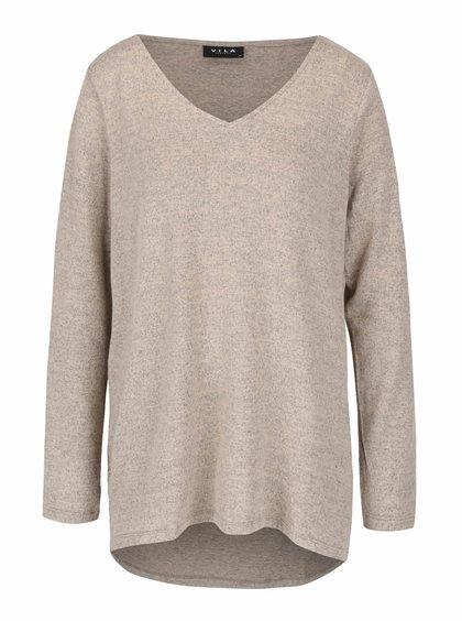 Béžový melírovaný ľahký sveter s véčkovým výstrihom VILA Lune