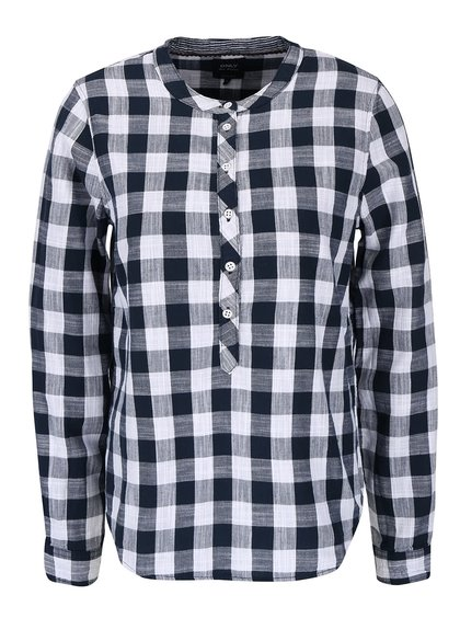 Tmavomodrá kockovaná košeľa bez goliera ONLY Casey