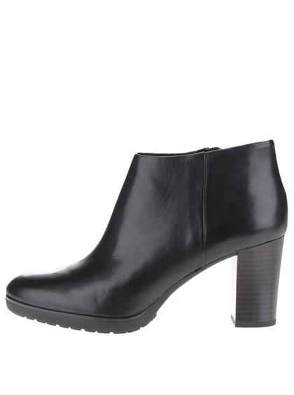 Čierne kožené dámske členkové topánky na vysokom podpätku Geox Raphal Mid