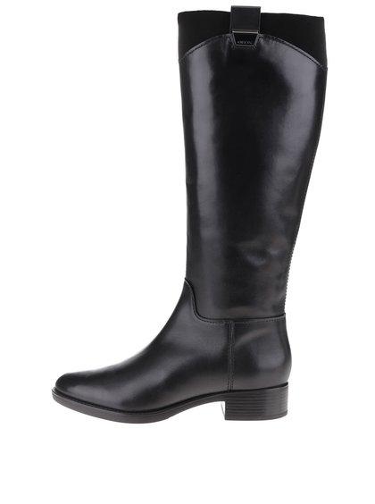 Čierne kožené vysoké čižmy na nízkom podpätku Geox Felicity