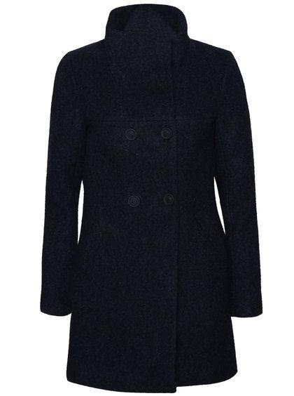 Tmavě modrý žíhaný dvouřadý kabát s vysokým límcem ONLY New Sophia