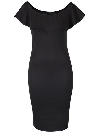 Rochie neagră mulată AX Paris cu volănaș