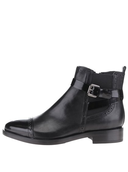 Černé lesklé kožené kotníkové boty Geox Donna Brogue