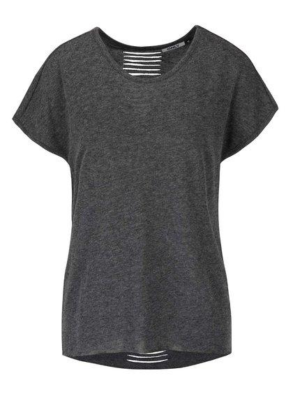 Tmavě šedé žíhané tričko s průstřihy na zádech ONLY Kikki