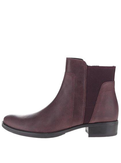 Vínové dámské kotníkové chelsea boty Geox Mendi