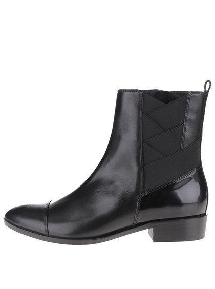 Černé dámské kožené kotníkové boty s gumou Geox Lover