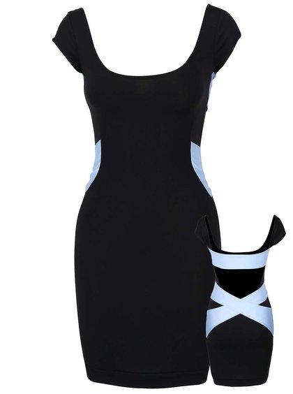 Modro-čierne elastické šaty s voľným chrbátom a ozdobnými pruhmi Quontum