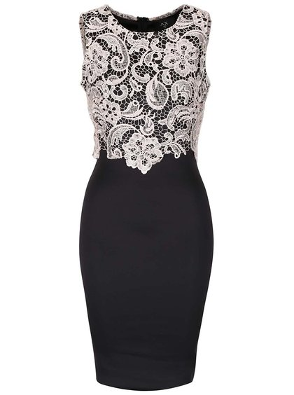 Čierne priliehavé šaty s krémovou čipkou AX Paris