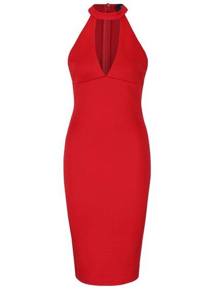 Červené šaty s hlubokým výstřihem AX Paris