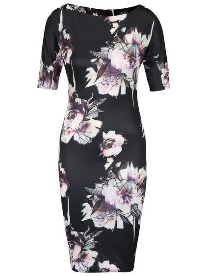 Čierne priliehavé šaty so vzorom kvetín AX Paris