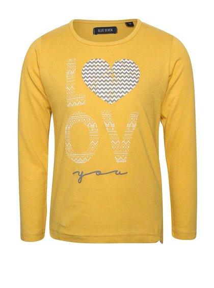 Žlté dievčenské tričko s dlhým rukávom Blue Seven