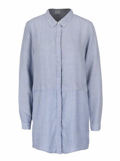 Modrá dlhšia pruhovaná košeľa ICHI Ballin