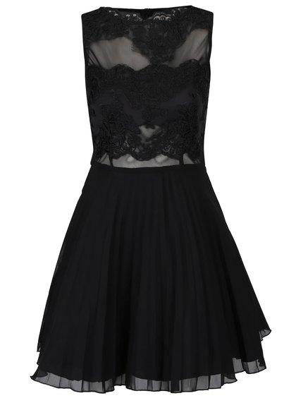 Čierne šaty s čipkou a plisovanou sukňou AX Paris