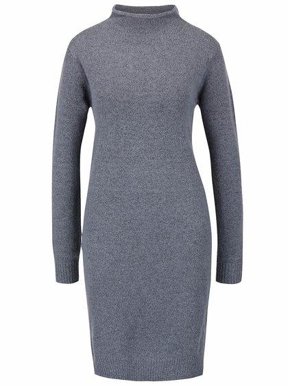 Sivomodré svetrové šaty s dlhým rukávom ICHI Merci