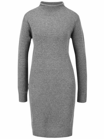 Sivé svetrové šaty s dlhým rukávom ICHI Merci