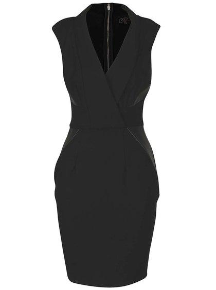 Čierne šaty s prekladaným výstrihom Lipsy
