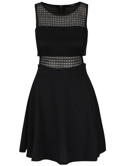 Čierne krátke šaty s prestrihmi a čipkovanými detailmi Haily's Juliana