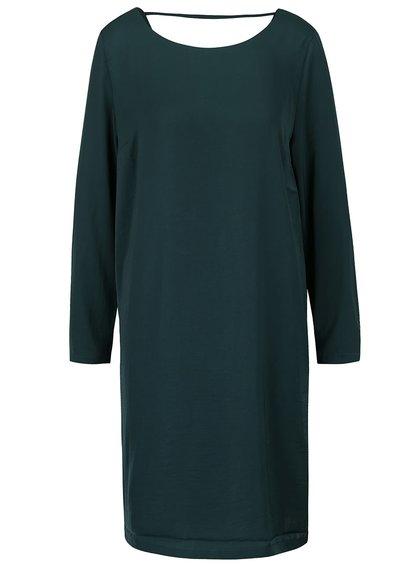Tmavozelené lesklé voľnejšie šaty s dlhým rukávom ICHI Classy
