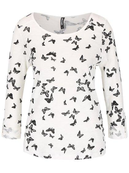 Krémové tričko s potiskem motýlů Haily's Cara