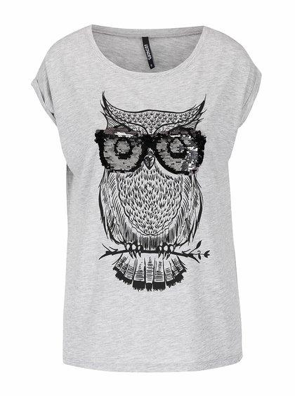 Sivé tričko s motívom sovy s flitrami Haily's Owl