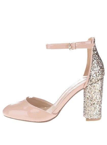 Tělové lesklé sandálky se třpytivým podpatkem Dorothy Perkins