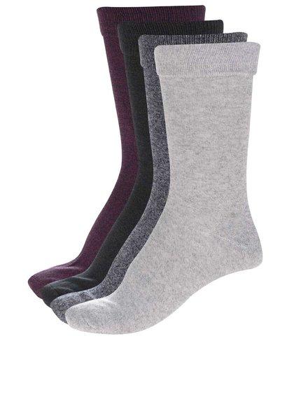 Súprava štyroch sivých, vínových, zelených a modrých melírovaných ponožiek Jack & Jones Plain