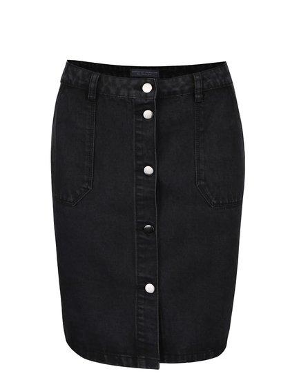 Čierna rifľová zapínacia sukňa s vreckami Dorothy Perkins
