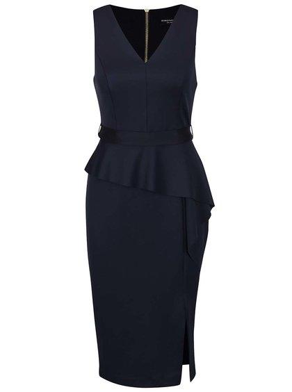 Tmavě modré šaty s volánkem Dorothy Perkins