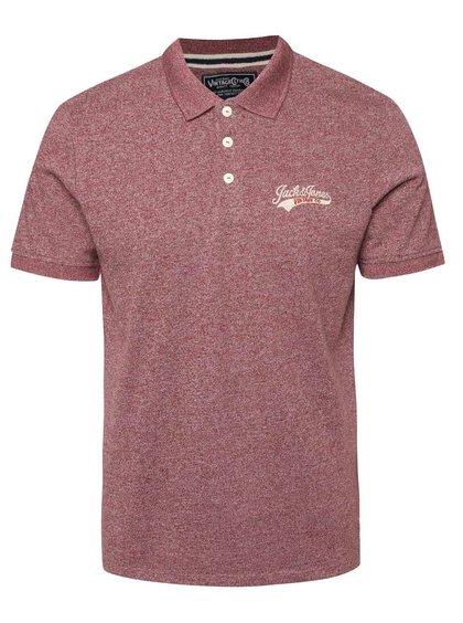 Vínové žíhané polo triko Jack & Jones Sport