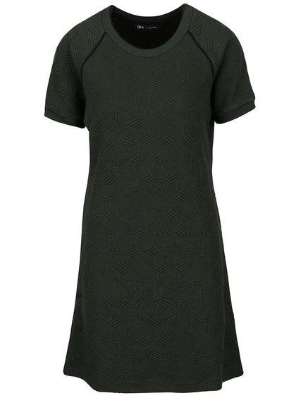 Tmavozelené šaty s plastickým vzorom gsus