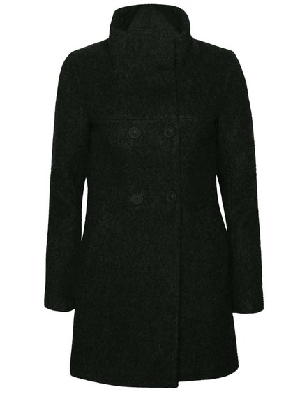 Čiernozelený melírovaný dvojradý kabát s vysokým golierom ONLY New Sophia