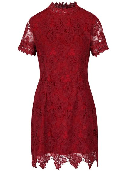Vínové čipkované šaty s krátkym rukávom AX Paris