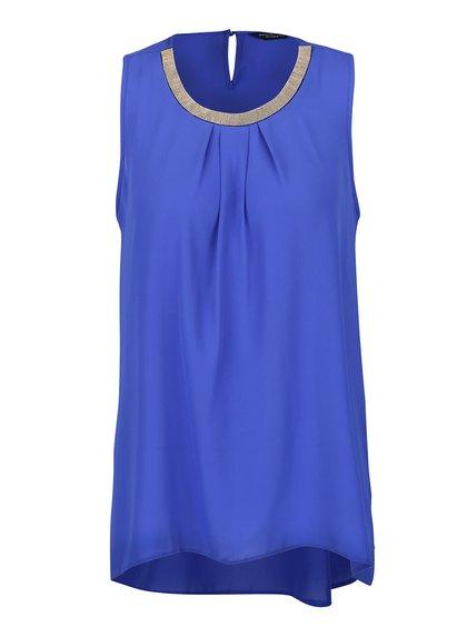 Modrá halenka bez rukávů s aplikací Dorothy Perkins