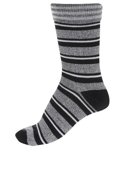 Čierne melírované ponožky s pruhmi Jack & Jones Blue