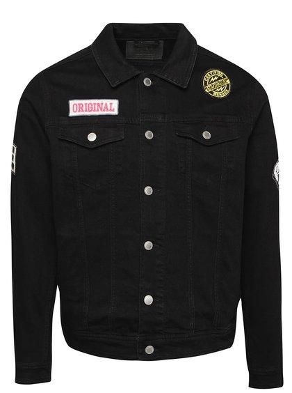Černá džínová bunda s nášivkami Jack & Jones Jean