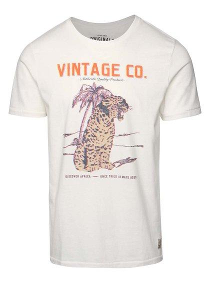 Tricou crem Jack & Jones African din bumbac cu print