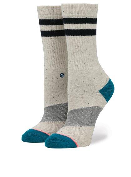 Béžové žíhané dámské ponožky s třpytivým pruhem Stance Stripe Crew