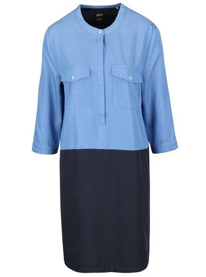 Šedo-modré šaty s kapsami gsus