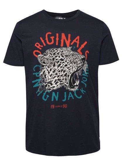Tricou albastru închis Jack & Jones Seikei din bumbac cu print
