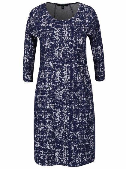 Tmavě modré vzorované strečové šaty s kapsami Fever London Logan