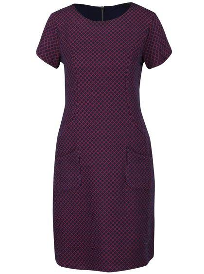 Ružovo-modré kockované šaty s vreckami Fever London Lori