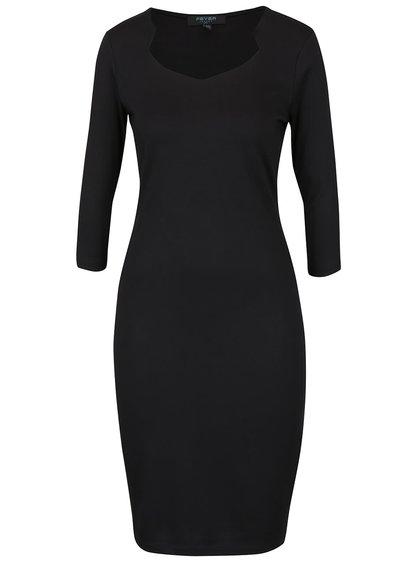 Čierne priliehavé šaty s 3/4 rukávmi Fever London Gretta